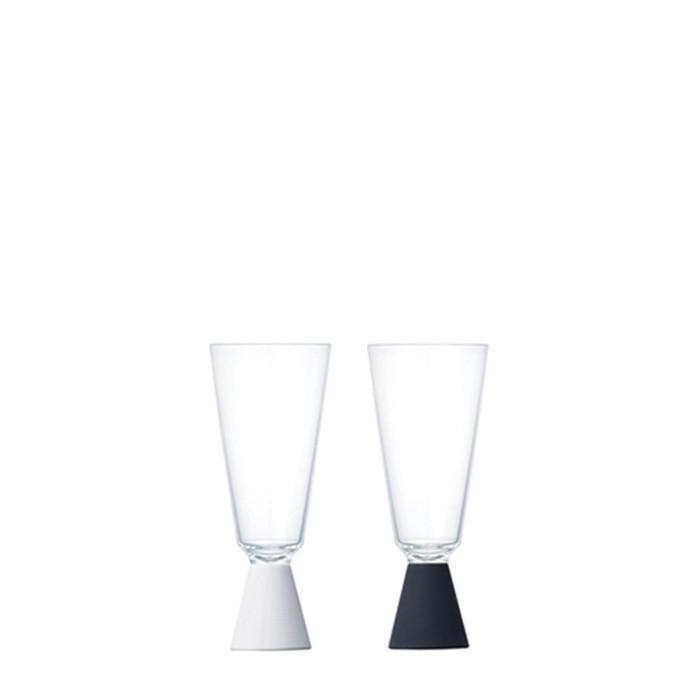 Kinto - Festa Champagne Glass 2 pcs White & Black (21335)
