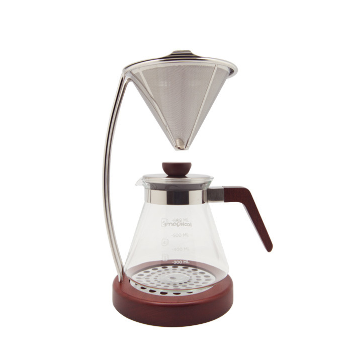 Yami - S/S Dripper Set with Wooden Base (YM9001)