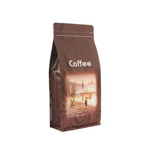 Coffee Bag 500G Colorful Quad Seal Pouch Brown (10pcs)