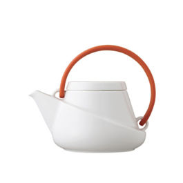 Kinto - Ridge Teapot 450ml with Strainer Orange Handle (27433)