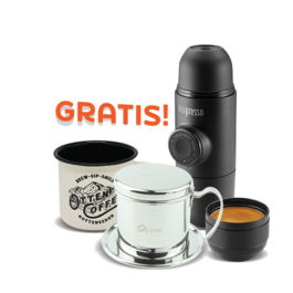 Langganan 3 bungkus kopi (1 tahun) free Minipresso + Vietnam Drip + Mug