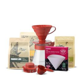 Langganan 3 bungkus kopi (6 bulan) GRATIS Hario V60 Coffee Server Red + Paper Filter VCF-02-40W